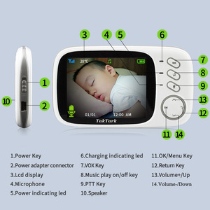 Image 5 - كاميرا مراقبة الأطفال عالية الدقة, مقاس 3.2 بوصة لاسلكية ذات رؤية ليلية ومراقبة درجة الحرارة