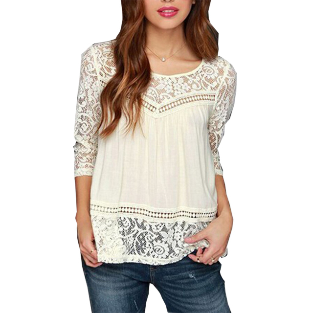 ecd7260d7 2018 New Arrival Three Quarter Sleeve Floral Lace Tops Split Back design  Sexy Casual Spring Autumn Blouse for women ladies J6017
