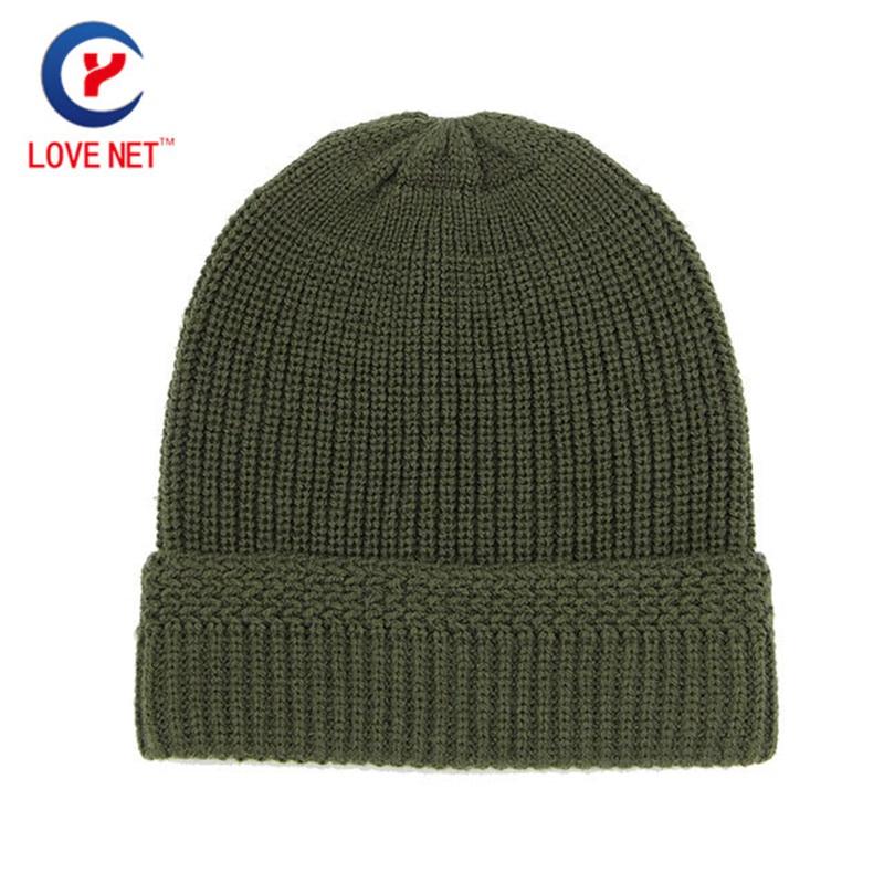 Moda Knitting Cap Army Green Knitted Adult Bonnet Caps Otoño - Accesorios para la ropa