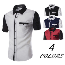 ZOGAA 2019 summer short sleeve shirt men Casual fashion Stitching color 4 plus size S-XXL street wear
