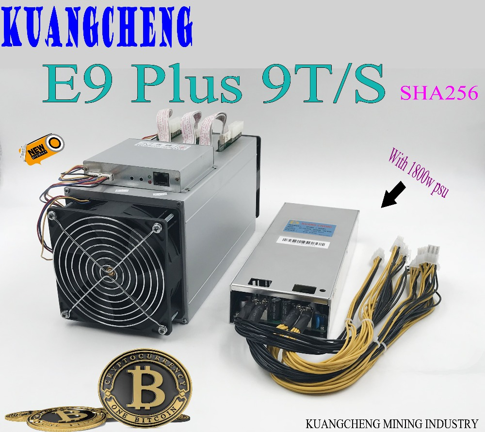 KUANGCHENG Used 14nm Asic Miner BCH BTC Miner Ebit E9 Plus 9T (with Psu) Better Than AntminerS7 And Low Price Good Economy Miner