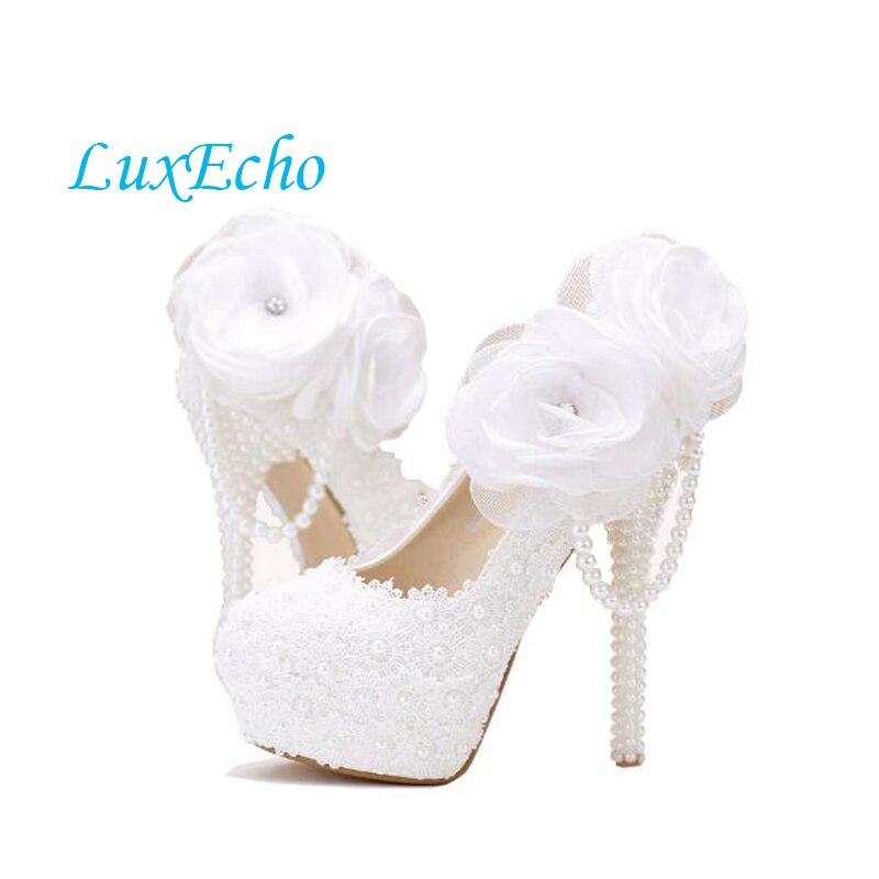 цена на new arrival sweet white lace flower wedding shoes high heel women party shoes performance platform shoes bridal pumps