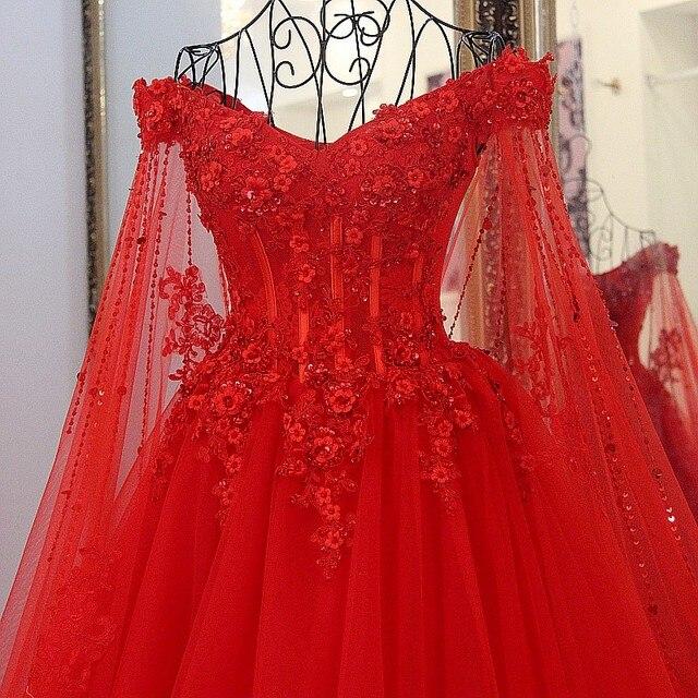 Robe De Mariee Rouge Mariage Femme Tulle Bal Perles Princesse A Lacets Avec Cape Avondjurk