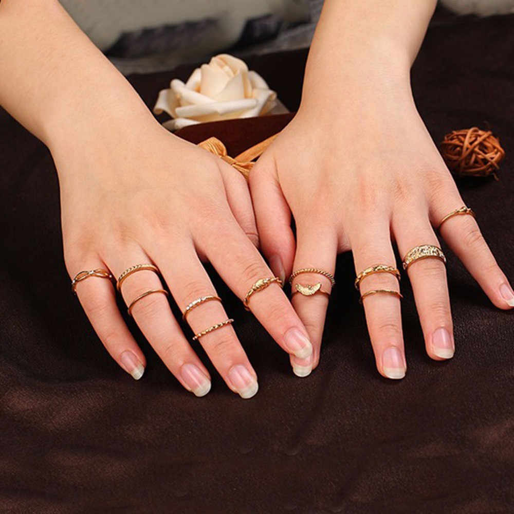 12pcs/lot Punk Style Vintage Metal Stacking Band Midi Finger Knuckle Rings Boho Crystal Flower Ring Set for Women Jewelry Gifts