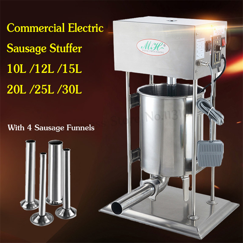 Automatic Meat Sausage Filler Vertical 10L Stainless Steel Sausage Maker Electric Churro Filling Machine For Snack Restaurants