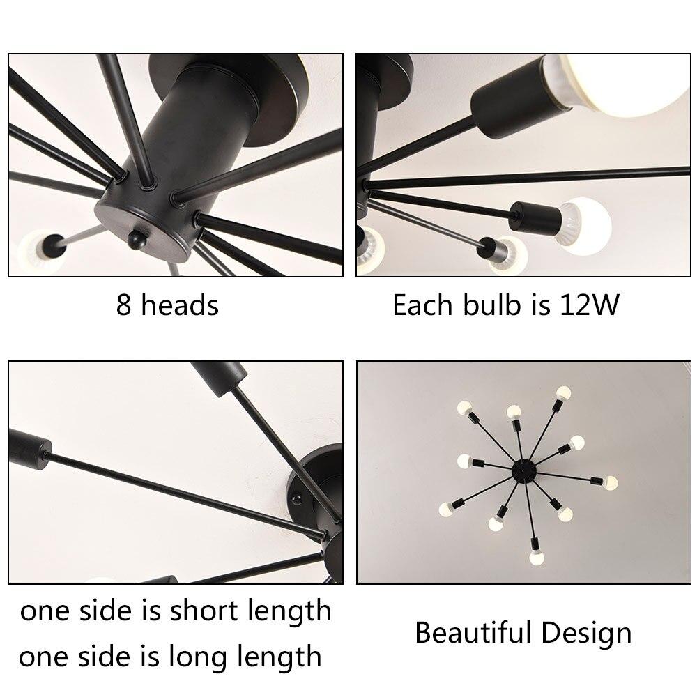 Image 4 - LED Pendant Lamp Modern Pendant Lights Hanging Vintage Multiple Rod Wrought Iron Lighting Ceilin Fixtures Home Decoration Light-in Pendant Lights from Lights & Lighting