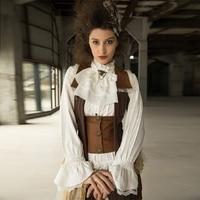 Victorian Women Vintage White Shirt Stand Collar Steampunk Gear Edwardian Blouses with Jabot