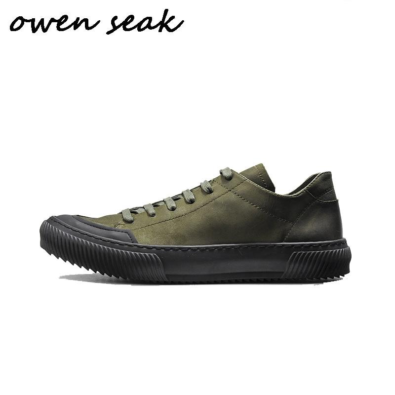 verde up Casuais Flats Couro Sneakers Owen Homens Luxo Exército Lace Dos De Casual Sapatos Primavera Genuína Seak Vaca Formadores Preto Outono 7qHfw46
