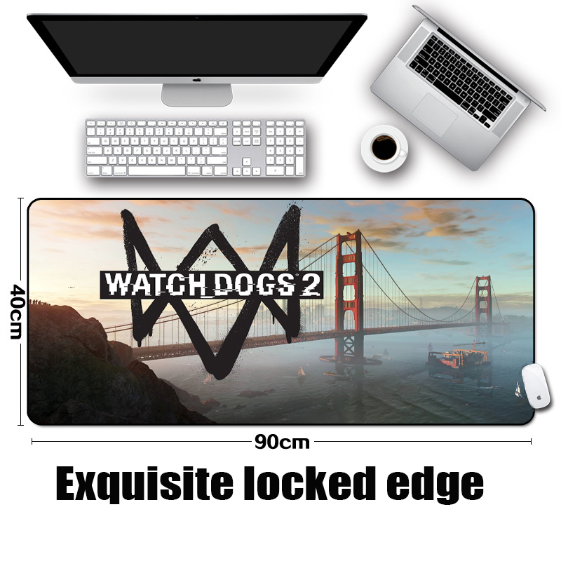 Mairuig New Arrival Watch_Dogs 2 Logo Pattern Table Mat Gaming Padmouse Support customized Table Mats Overlock Pc Laptop Mats