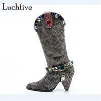 Горный хрусталь замшевые короткие сапоги женские пикантные шпильках ботильоны со стразами женская обувь серебристого цвета без шнуровки с