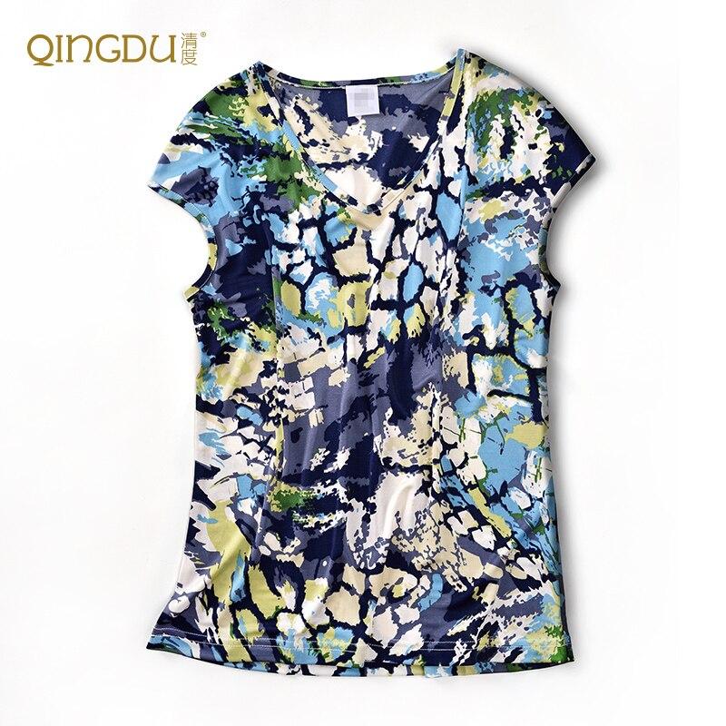 ฤดูร้อนใหม่ผู้หญิงเสื้อยืดผ้าไหม 100% ผ้าไหมถักกระเป๋าผ้าไหม-ใน เสื้อยืด จาก เสื้อผ้าสตรี บน   2