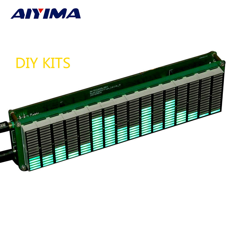 Aiyima 16 nivel LED Music Audio indicador de espectro Tablero del amplificador Velocidad de color verde ajustable con modo AGC KITS DIY