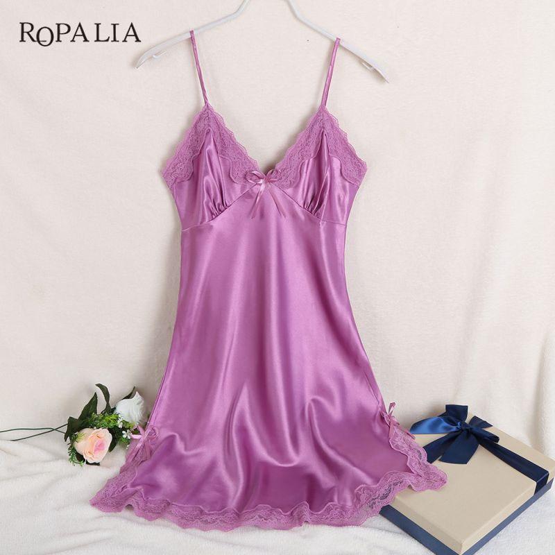 ZH Sexy Silk Satin Night Dress Sleeveless Nighties V-neck Nightgown Nightdress Sleepwear Lace Nightwear For Women Plus Size
