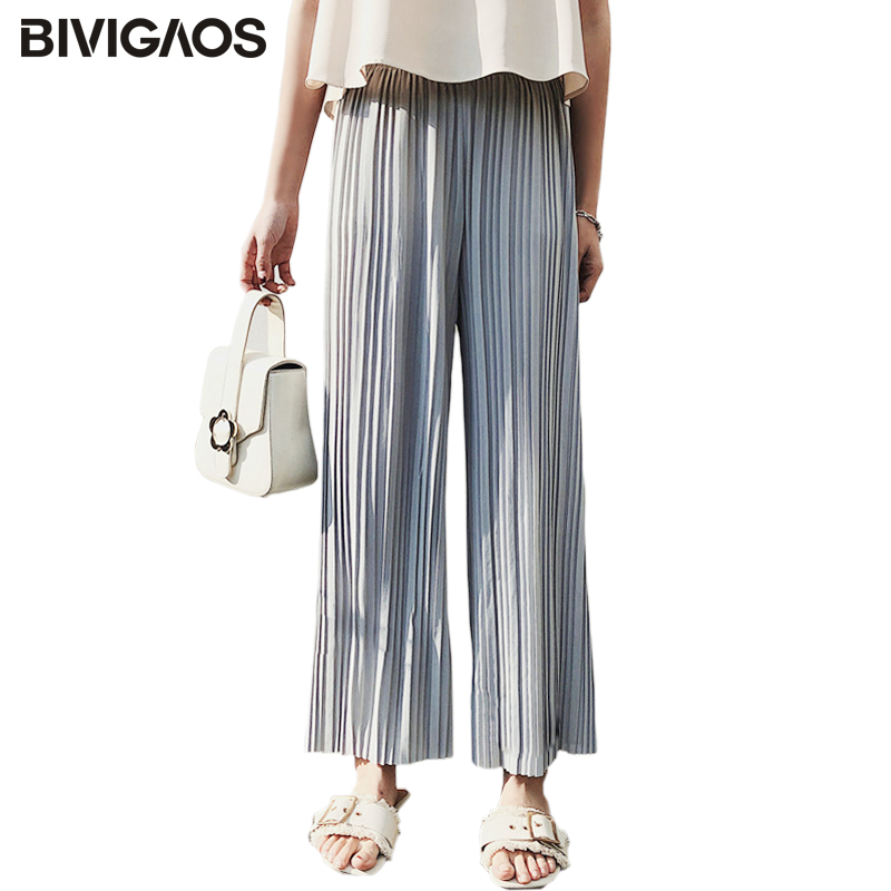 BIVIGAOS 2018 Spring Summer New High Waist Pleated Chiffon   Wide     Leg     Pants   Elastic Casual Loose   Pants   Thin Cropped Trousers Women