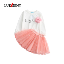 LUEISENY Summer 2019 Girls Dress Lovely White Tee Shirt and Pink Baby Kids Clothes Sets