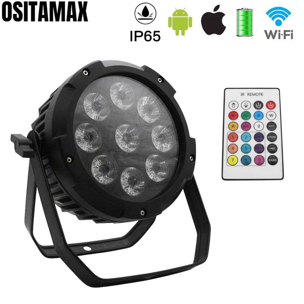 LED scena dyskoteki światła 9X18W na zewnątrz  IP65 lampa Par 6IN1 bezprzewodowy i bateria mobilna sterowanie przez wifi dźwięk podkładka LED Par może w Oświetlenie sceniczne od Lampy i oświetlenie na title=