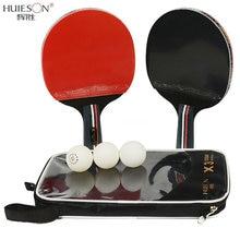 Huieson 2 Stks/partij Tafeltennis Bat Racket Dubbele Gezicht Puistjes In Lange Korte Handvat Ping Pong Paddle Racket Set Met zak 3 Ballen