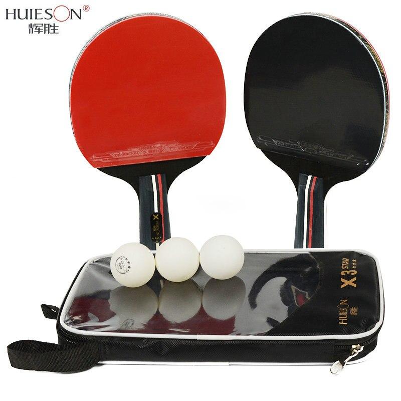Huieson 2 pcs/lot Raquette De Tennis De Table Raquette Double Visage Boutons En Long Manche Court Ping-Pong Paddle Raquette Ensemble Avec sac 3 Boules