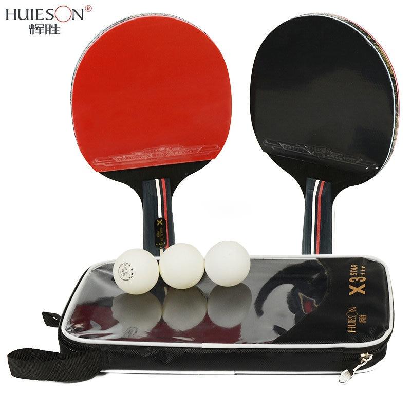 Huieson 2 unids/lote Tenis de Mesa bate raqueta de doble cara granos en tiempo corto manejar raqueta de Ping Pong raqueta con bolsa de 3 bolas
