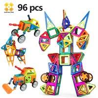 גודל Mediun צעצוע בלוקים מגנטיים עם גלגל ענק 96 יחידות/סט אבן בניין 2017 חינוכי מגנטיות מטוס ילדים