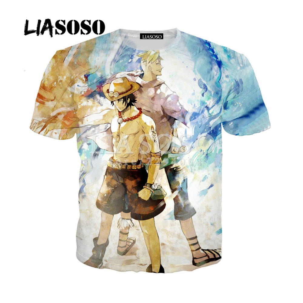 LIASOSO New Summer Fighting Japanese Anime 3D Print Black Luffy One Piece T Shirt Men O-Neck Short Sleeve Tee Shirt Homme Y077