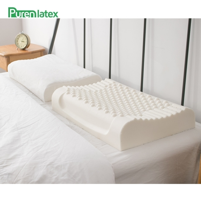 PurenLatex 60x40 Thailand Pure Natural Latex Pillow Remedial Neck Protect Vertebrae Health Care Orthopedic Pillow Slow Rebound 8
