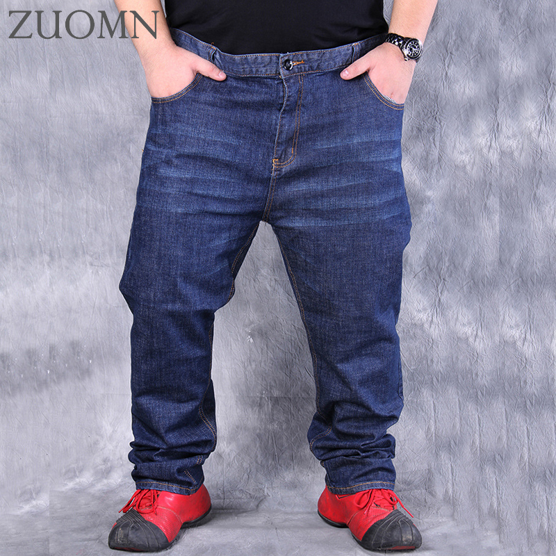 Plus Big Size Pants 60 Men High Stretch Big Trouser Jeans Man Straight Loose Fat Jeans Male Waist Elastic Fat People Pants Y25