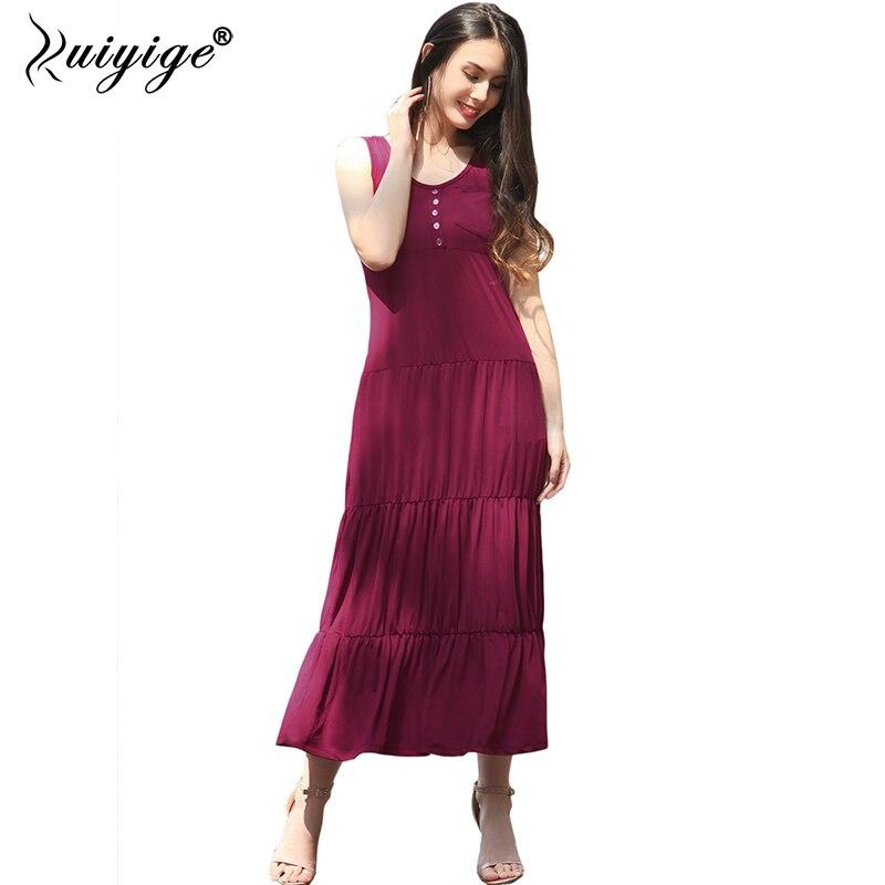 RUIYIGE 2018 Womens Summer Loose Maxi Cami Dresses Solid Colour Ladies Spaghetti Strap Casual Sleeveless Pleated Dress Vestidos