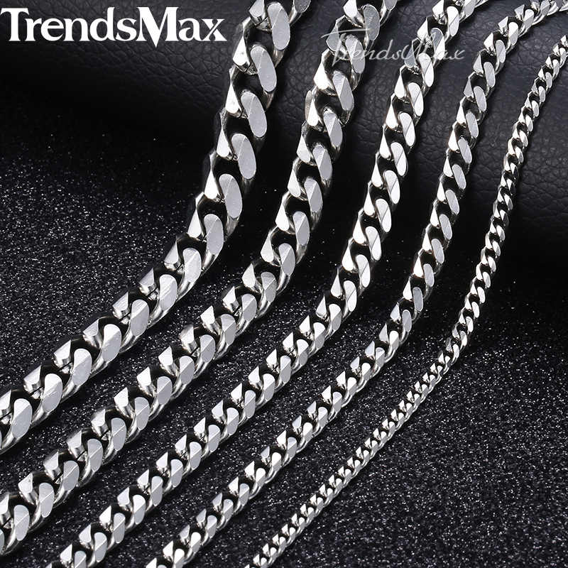 Personalized Size 3-9mm Men's Necklace Stainless Steel Cuban Link Chain Gold Black Silver Color Male Jewelry Gifts for Men KNM07