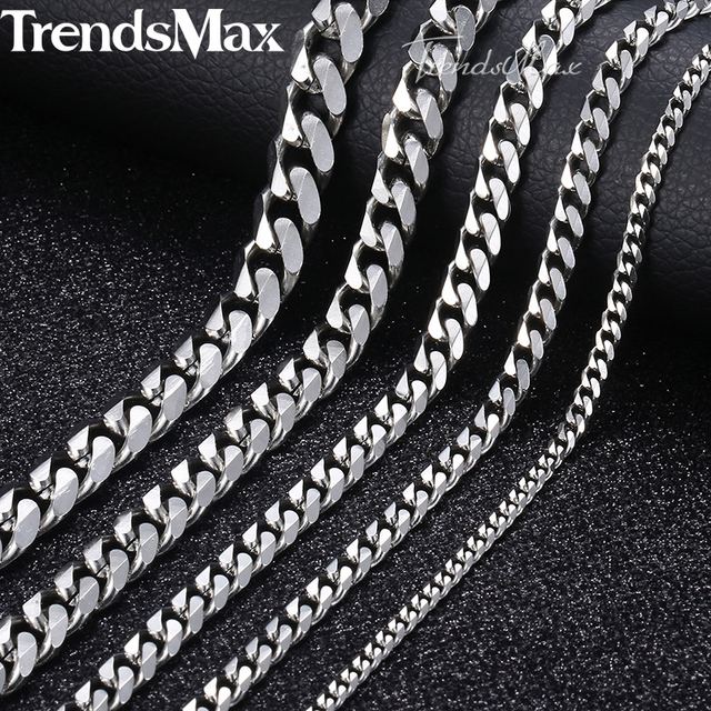 1b5fb4c4805 Personalized Size 3-9mm Men's Necklace Stainless Steel Cuban Link Chain  Gold Black Silver Color