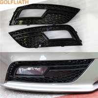 GOLFLIATH RS4 Style Front Bumper Fog lamp Grille Glossy Black Fog Light Cover Grills For Audi A4 B8 2013 2015 Standard Bumper