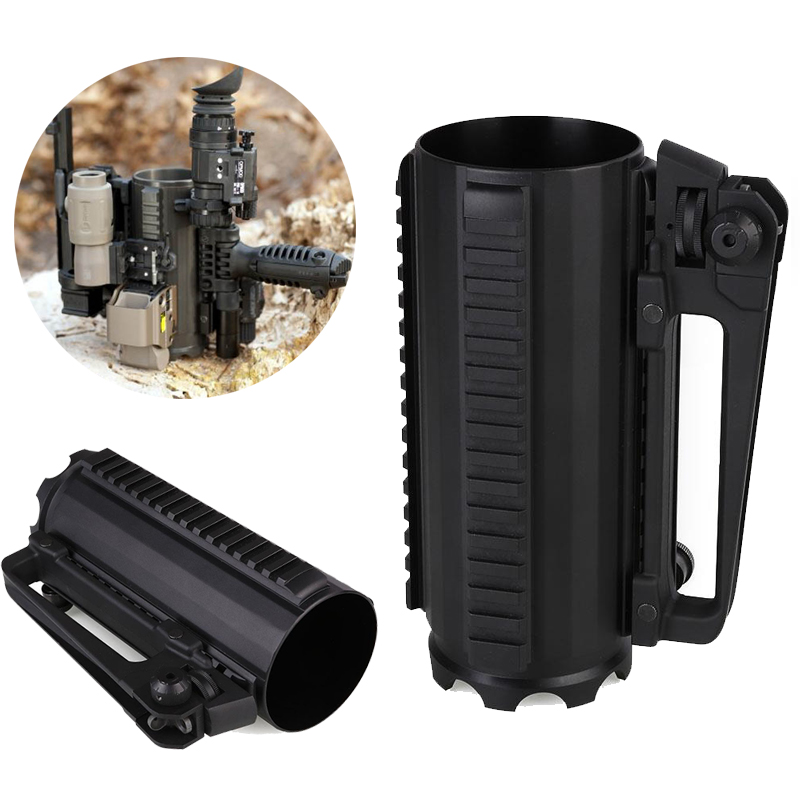 Forfar 500ML Outdoor Tools Tactical Military Multifunction Metal Alloy Detachable Carry Battle Rail Cup Mug with Rail Black tactical mug cup multi function military hunting gun accessories aluminum handled carry detachable large battle coffee beer mug