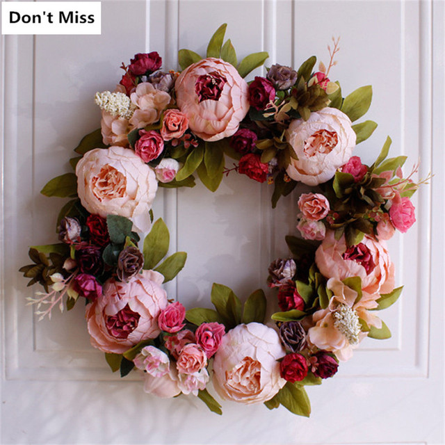 Door Flowers Simulation Flowers Wreath Door Wall Perfect Quality Artificial Garland for Wedding Decoration Home Party Decoracive