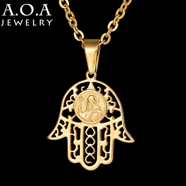 Novelty stainless steel hamsa hand necklace antique gold color novelty stainless steel hamsa hand necklace antique gold color fatima hand pendant necklaces for women aloadofball Images