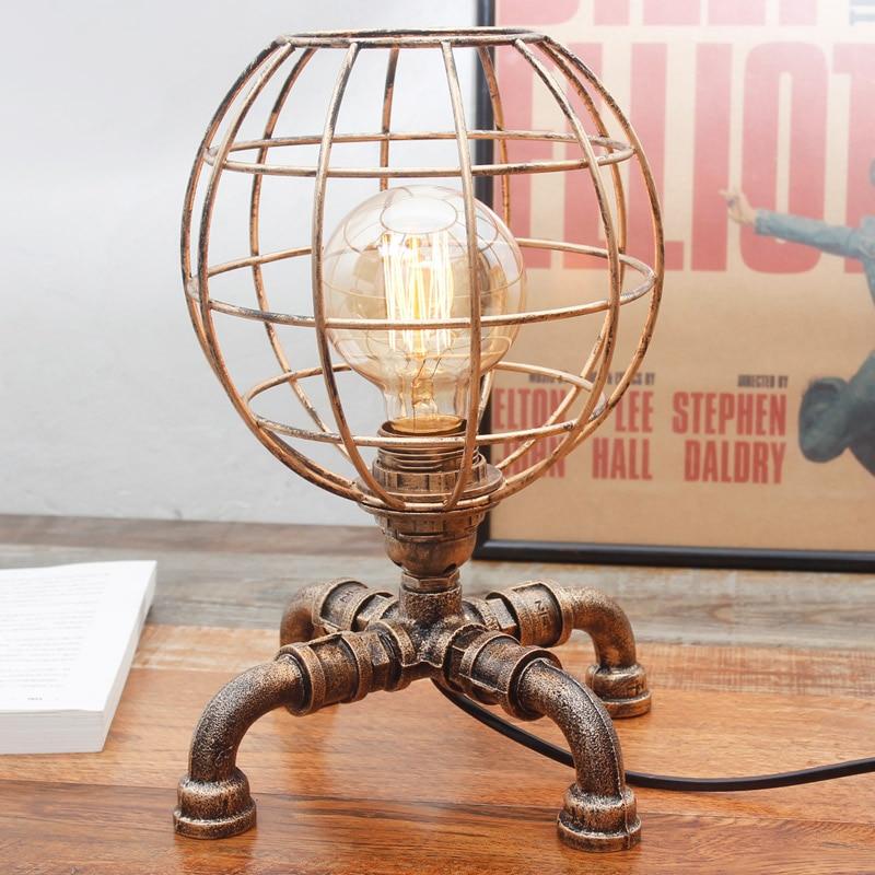 Iron art RETRO personality desk lamp designer desk bedroom bedside lamp American lamp and light source LU8141345 north european style retro minimalist modern industrial wood desk lamp bedroom study desk lamp bedside lamp