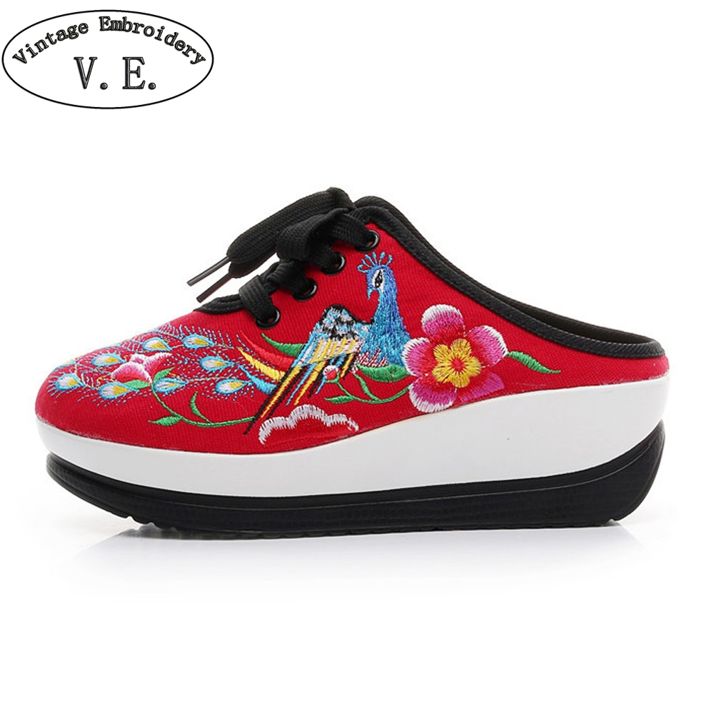 Vintage Women Slippers New Chinese Embroidered Phoenix Ladies Platforms Comfort Sandals Shoes Cloth Sapato Feminino Woman new phoenix 11207 b777 300er pk gii 1 400 skyteam aviation indonesia commercial jetliners plane model hobby