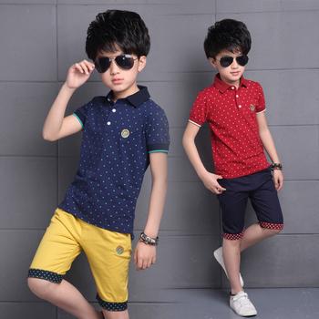 Ubrania dla dzieci 2020 letnie ubrania dla dzieci chłopców koszula + spodenki strój ubrania dla dzieci chłopcy Sport garnitur maluch zestawy ubrań dla chłopców tanie i dobre opinie Skręcić w dół kołnierz PZPCBML Polka dot REGULAR Krótki Pojedyncze piersi Szorty 333333 COTTON Pasuje prawda na wymiar weź swój normalny rozmiar