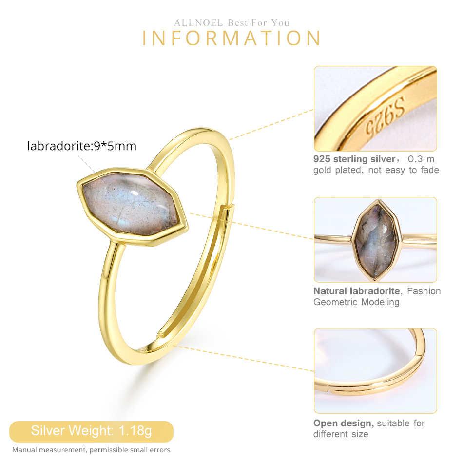 ALLNOEL Настоящее 925 пробы Серебряное кольцо для женщин 100% натуральный ромб Африка Лабрадорит Драгоценный камень конский глаз дизайнер хорошее ювелирное изделие