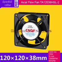 240V AC 50HZ 0.14A 25W 2500RPM 120*38mm Anticorrosion Cooling Radiator Axial Fan TA12038HSL 2 FZY for Electroplate Factory