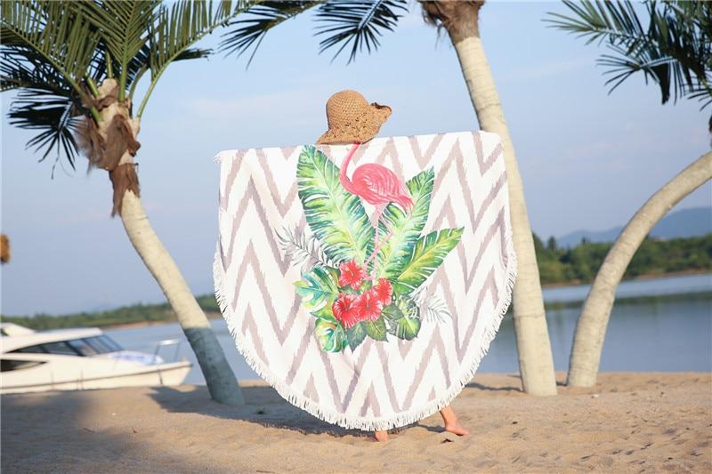 HTB1T5MNSpXXXXb XFXXq6xXFXXXW - Round Style Microfiber Beach Towel - Flamingo With Tassels Design