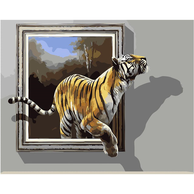 New Painting Tiger Window High Quality Home Decor Abstract Drawing Picture By Numbers Canvas Decoration Living Room Wall Art