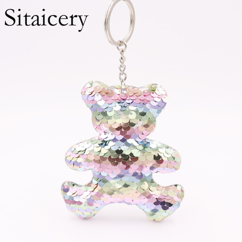 Sitaicery Cute Chaveiro Bear Keychain Glitter Pompom Sequins Key Chain Gifts For Women Llaveros Mujer Bag Accessories Keyring