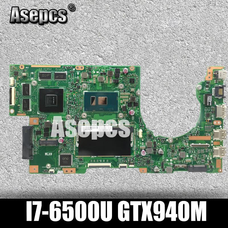 Akemy K501UB carte mère d'ordinateur portable pour ASUS K501UX K501UB K501U K501 Test carte mère d'origine DDR4-8G RAM I7-6500U GTX940M