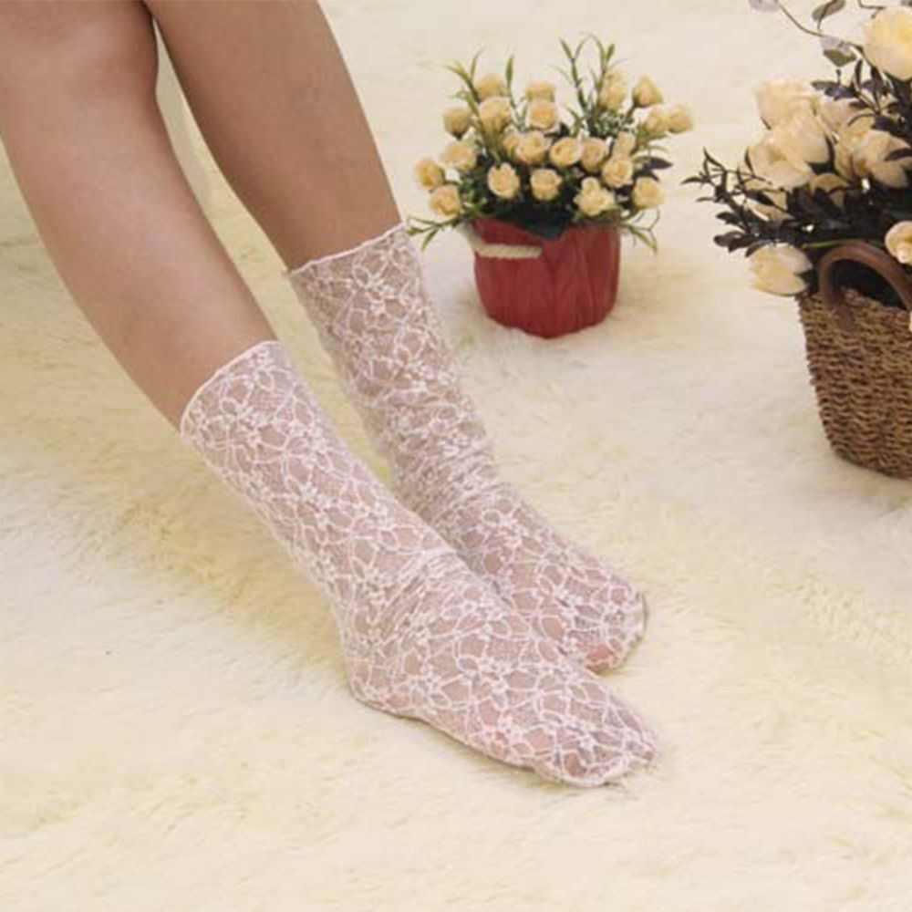 Transparent Ankle Floral Rüschen Vintage Damen Net High Boot Frauen Haufen Socken Spitze Mesh