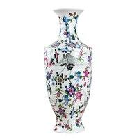 Antique Jingdezhen Luminous Noctilucent Vase With Flowers and Bird Patterns Ceramic Table Vase Porcelain Decorative Vase