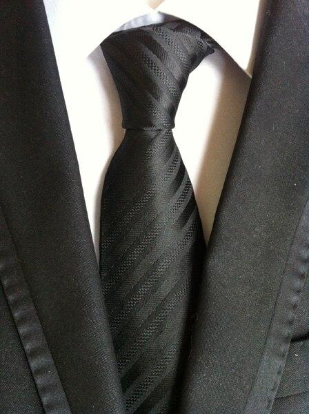 8 см Новое поступление Галстук Классический мужской формальный галстук сплошной черный с диагональными полосками