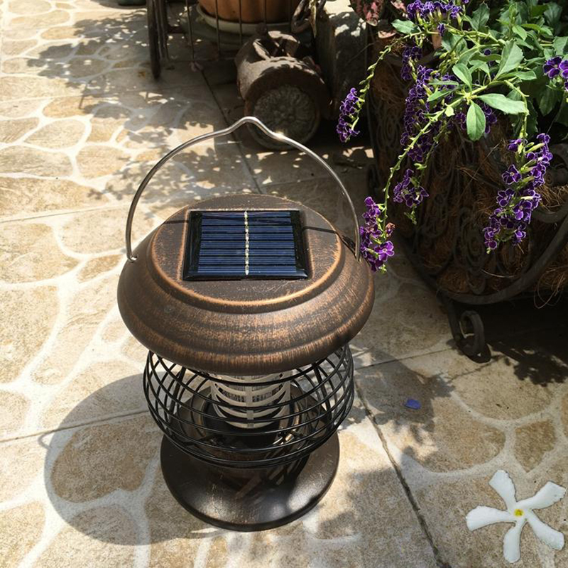 Solar Portable Copper Outdoor LED Anti-mosquito Dual-use Lights Portable Lanterns Retro Waterproof Garden Lights mosquito killer