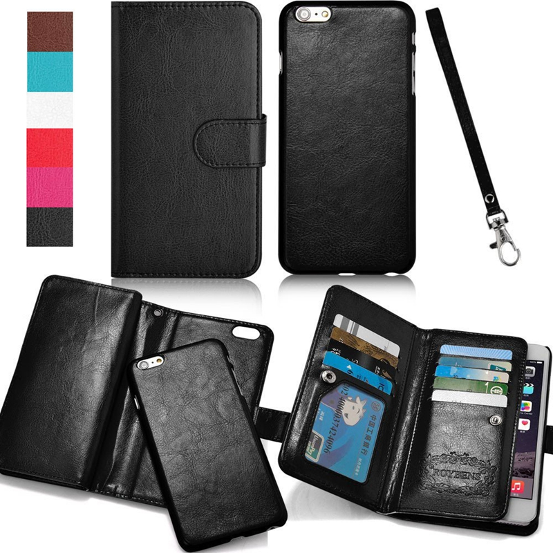 9 Card Holder Mutil-Function Wallet Case For iPhone 6S SE 5 5S 5G Flip Cover Back Case 2 in 1 Phone Bag For iPhone 6 Plus 7 Plus