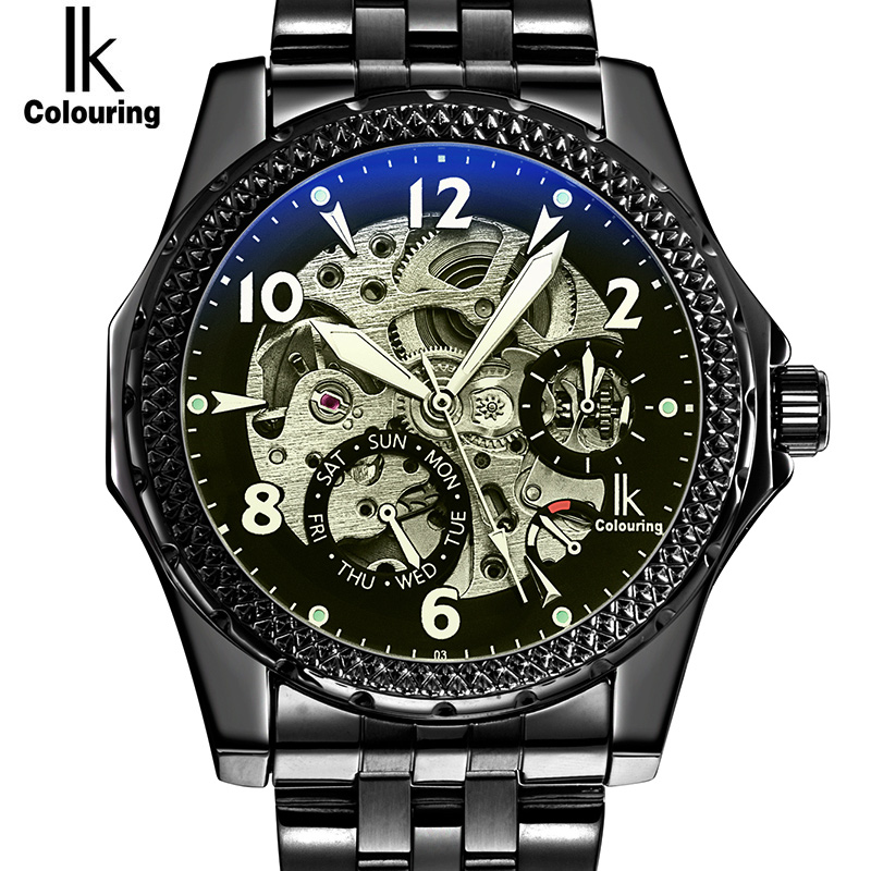 IK 2017 New Black Men's Skeleton WristWatch Stainless steel Antique Steampunk Casual Automatic Skeleton Mechanical Watches Male все цены