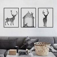 Vintage Đen Trắng Deer Head Động Vật Silhouette Big Art Print Poster Tường Hình Ảnh Vải Vẽ Không Có Đóng Khung Home Deco